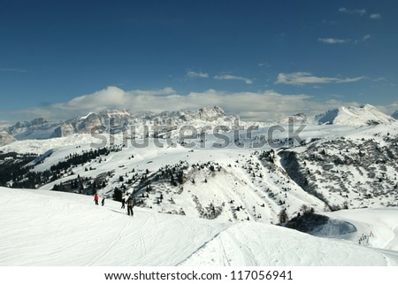 Slope view. Panorama in the Dolomite Mountains, Italy. - stock photo
