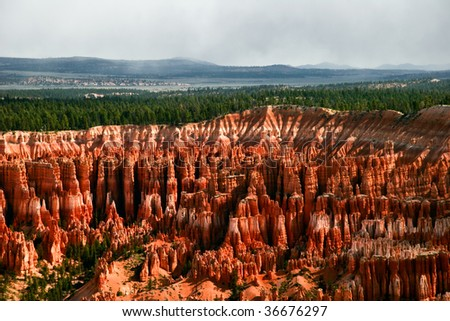 Slopes of Bryce canyon. Utah. USA - stock photo