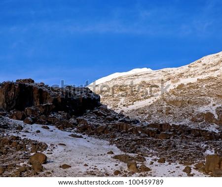 Slopes of Kilimanjaro (5.895 m) - Tanzania - stock photo
