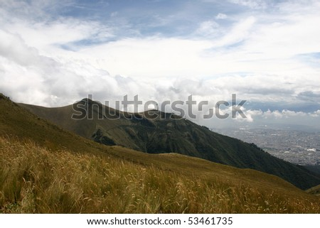 Slopes of the Pichincha in Ecuador in the Andes above the capital, Quito - stock photo