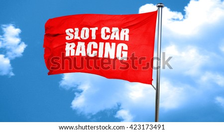 slot car racing, 3D rendering, a red waving flag - stock photo