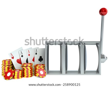 Slot Machine and chips with playing cards - stock photo