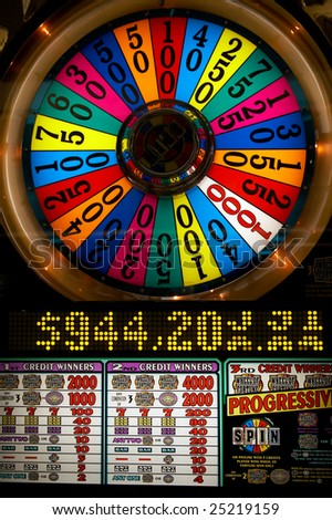 Slot machine close-up in Las-Vegas - stock photo