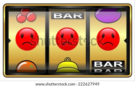 Slot machine, gambling illustration, looser - stock photo