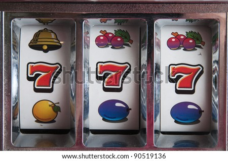Slot Machine games with a jackpot three seven - stock photo