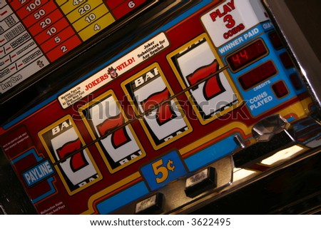 Slot Machine hitting mega jackpot in Las Vegas - stock photo