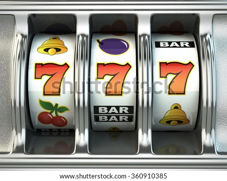 Slot machine with jackpot. Casino concept. 3d - stock photo