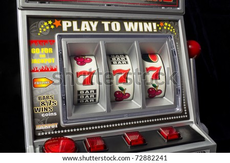 slot machine with three times seven - stock photo