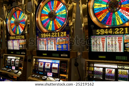Slot machines close-up in Las-Vegas - stock photo