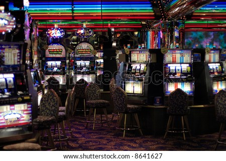 Slot machines in a casino - stock photo