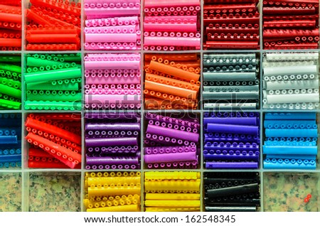 slots of brackets in different colors - stock photo