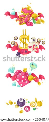 Slots, Poker, Craps and Bingo design - stock photo