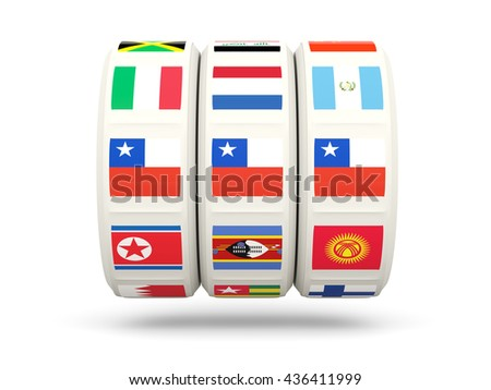 Slots with flag of chile isolated on white. 3D illustration