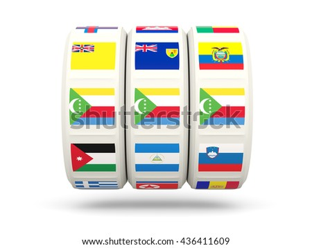 Slots with flag of comoros isolated on white. 3D illustration