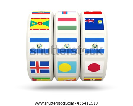 Slots with flag of el salvador isolated on white. 3D illustration