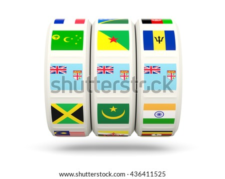 Slots with flag of fiji isolated on white. 3D illustration