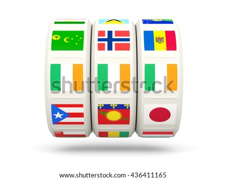 Slots with flag of ireland isolated on white. 3D illustration