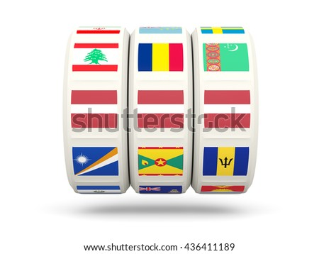 Slots with flag of latvia isolated on white. 3D illustration