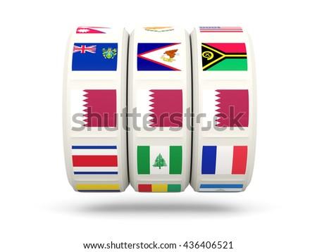Slots with flag of qatar isolated on white. 3D illustration