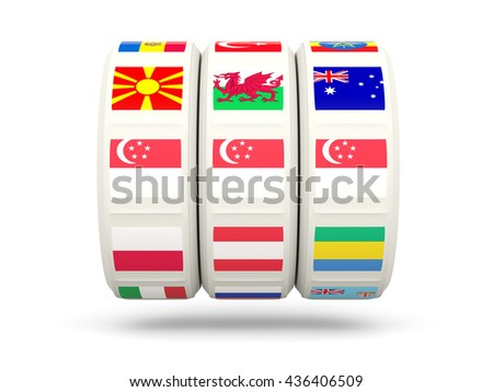 Slots with flag of singapore isolated on white. 3D illustration