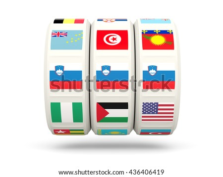 Slots with flag of slovenia isolated on white. 3D illustration