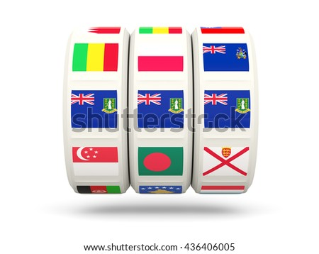 Slots with flag of virgin islands british isolated on white. 3D illustration