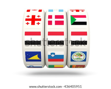 Slots with flag of yemen isolated on white. 3D illustration