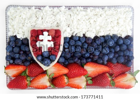 Slovak flag from traditional food - stock photo