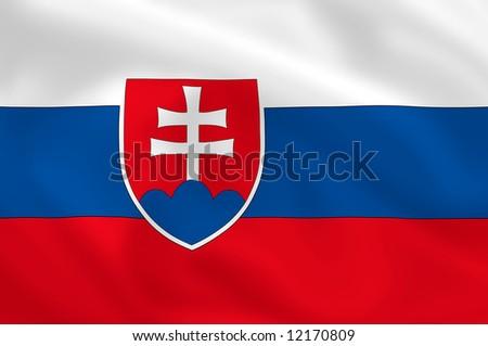 Slovak waving flag - stock photo