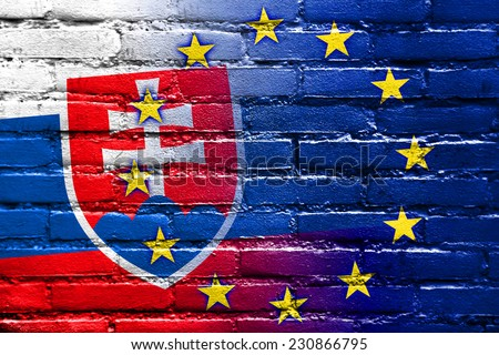 Slovakia and European Union Flag painted on brick wall