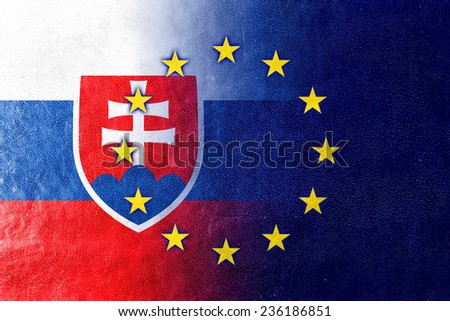 Slovakia and European Union Flag painted on leather texture