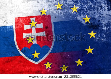Slovakia and European Union Flag with a vintage and old look - stock photo
