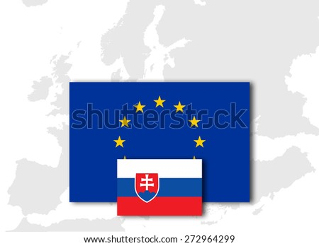 Slovakia and European Union Flag with Europe map background - stock photo