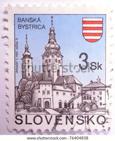 SLOVAKIA - CIRCA 1994: A 3 koruna stamp from Slovakia shows image of architecture in Banska Bystrica, circa 1994