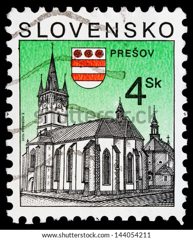 SLOVAKIA - CIRCA 1998: a stamp from Slovakia shows image of a church in Presov, circa 1998 - stock photo
