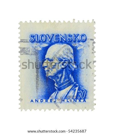 SLOVAKIA - CIRCA 1943: A stamp printed in Slovakia showing Andrej Hlinka circa 1943 - stock photo