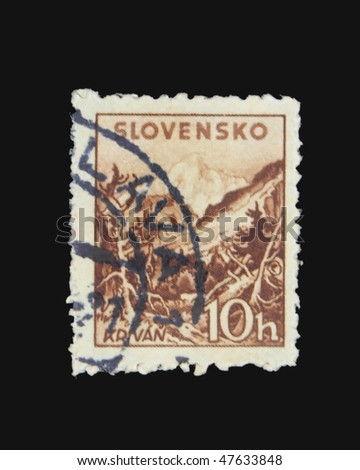 SLOVAKIA - CIRCA 1943: A stamp printed in Slovakia showing Krivan circa 1943 - stock photo