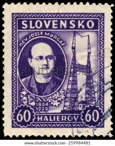 SLOVAKIA - CIRCA 1939: A stamp printed in Slovakia shows architect Jozef Murgas, circa 1939 - stock photo
