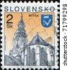 SLOVAKIA - CIRCA 1995: A stamp printed in Slovakia shows Castle of Nitra, city in western Slovakia, circa 1995 - stock photo