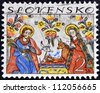 SLOVAKIA - CIRCA 1994: A stamp printed in Slovakia shows image of nativity, circa 1994 - stock photo