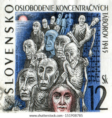 SLOVAKIA - CIRCA 1995: A stamp printed in Slovakia shows Liberation of the Concentration Camps, 50th Anniversary, circa 1995  - stock photo