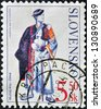 SLOVAKIA - CIRCA 2001: A stamp printed in Slovakia shows male costume Detva, circa 2001 - stock photo