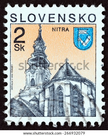 SLOVAKIA - CIRCA 1995: A stamp printed in Slovakia shows St. Emmeram Cathedral, Nitra city, circa 1995. - stock photo