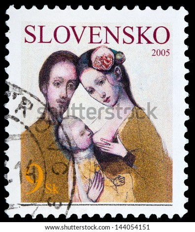 SLOVAKIA - CIRCA 2005: A stamp printed in Slovakia shows the Holy Family, circa 2005 - stock photo