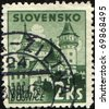 SLOVAKIA - CIRCA 1943: A stamp printed in Slovakia shows view of Bojnice, circa 1943 - stock photo