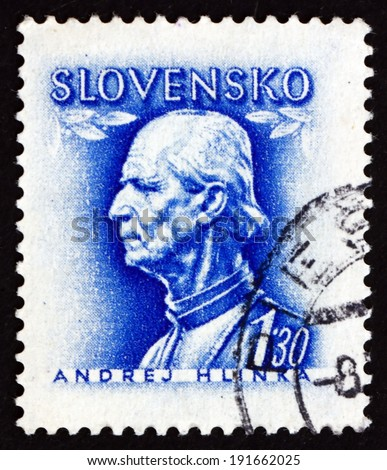 SLOVAKIA - CIRCA 1943: a stamp printed in the Slovakia shows Andrej Hlinka, Slovak Politician and Catholic Priest, circa 1943 - stock photo