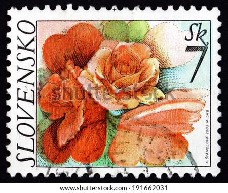SLOVAKIA - CIRCA 2003: a stamp printed in the Slovakia shows Rose Flowers, circa 2003 - stock photo