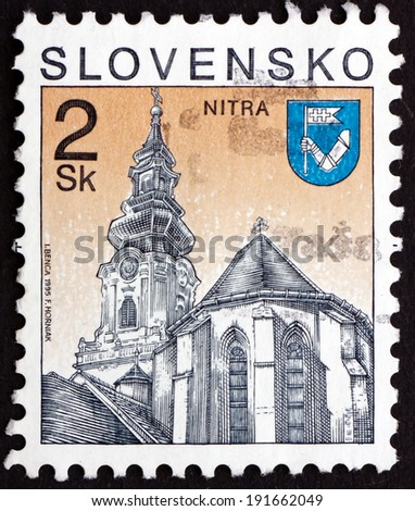 SLOVAKIA - CIRCA 1995: a stamp printed in the Slovakia shows St. Emmeram's Cathedral, Nitra, circa 1995 - stock photo