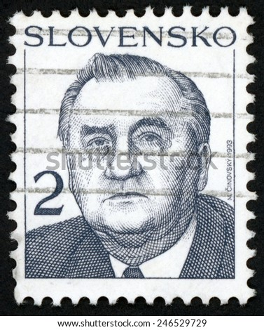 SLOVAKIA - CIRCA 1993: post stamp printed in Slovensko shows portrait of 1st president Michal Kovac (finance minister, politician); Scott 159 A58 2k gray, circa 1993 - stock photo
