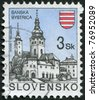 SLOVAKIA - CIRCA 1994: Postage stamp printed in Slovakia, represented the town Banska Bystrica, circa 1994 - stock photo
